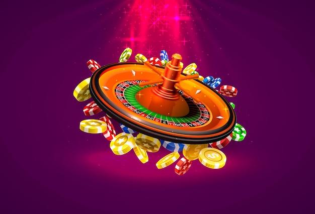 La roulette du casino gagne des pièces de monnaie sur le fond rouge. illustration vectorielle