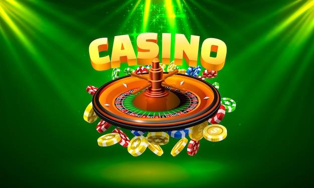 La roulette du casino gagne des pièces de monnaie sur le fond vert. illustration vectorielle
