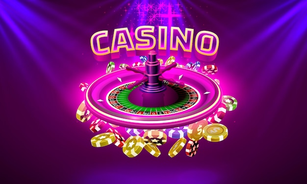 La roulette du casino gagne des pièces de monnaie sur le fond violet. illustration vectorielle