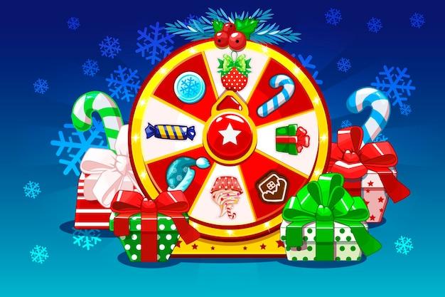 Roulette porte-bonheur de noël faisant tourner la roue de la fortune icônes et cadeaux de vacances actifs du jeu interface utilisateur active