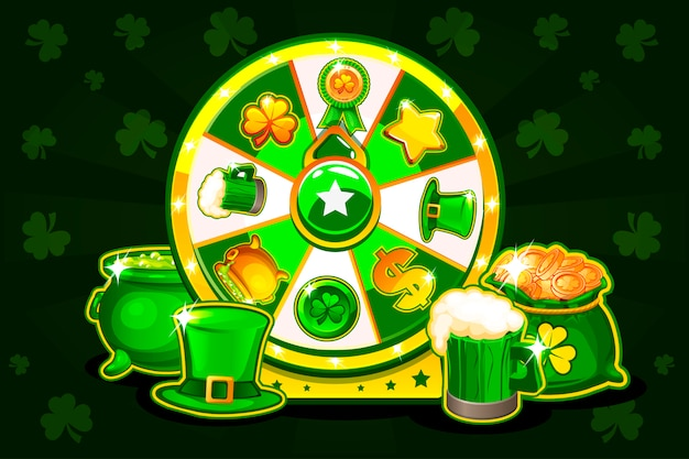 La roulette porte-bonheur de patrick de dessin animé, la roue de la fortune tournante. icônes et symboles de vacances