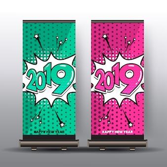 Roulez la bannière avec bonne année 2019 en style bande dessinée