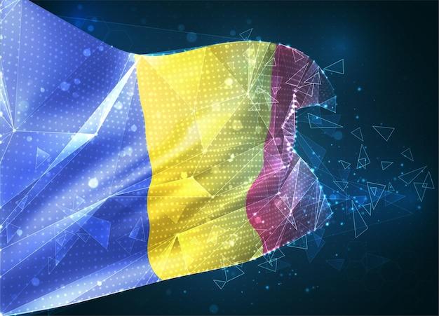 Roumanie, drapeau vectoriel, objet 3d abstrait virtuel à partir de polygones triangulaires sur fond bleu