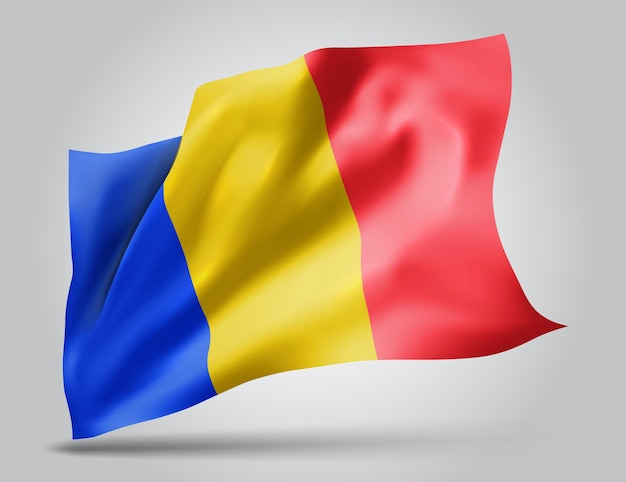 Roumanie, drapeau vectoriel avec des vagues et des virages ondulant dans le vent sur fond blanc.