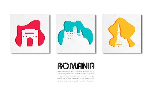 Roumanie landmark global travel and journey en papier découpé