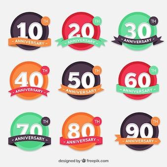 Round anniversaire étiquettes collection