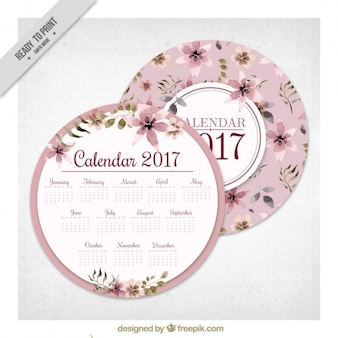 Round floral 2017 calendrier