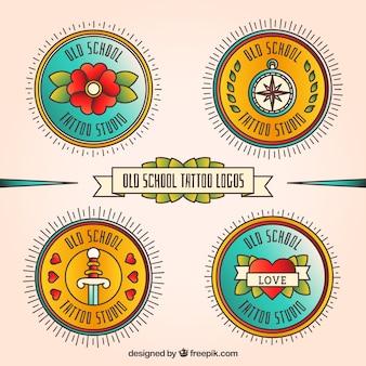 Round tatouage logos dans le style rétro