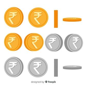 Roupies indiennes d'argent et d'or