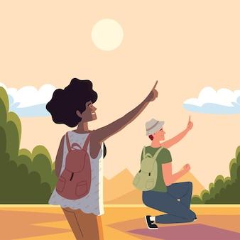 Les routards de couples explorent le voyage d'aventure