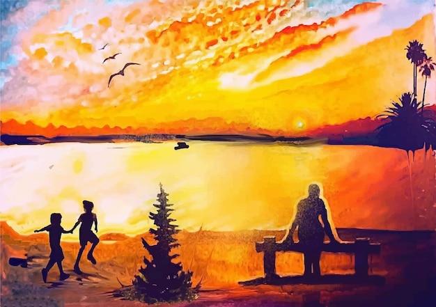 Route aquarelle, maison, illustration de la nature avec vue sur la rue du paysage