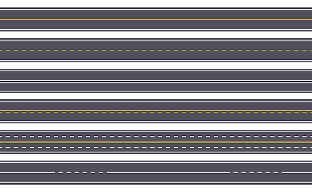 Route asphaltée droite autoroute sans couture avec marquages jaunes et blancs rue urbaine horizontale de la ville