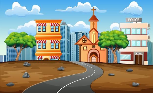Route asphaltée en fond de paysage urbain