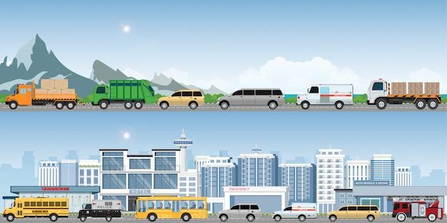Route d'autoroutes modernes avec de nombreux véhicules différents.