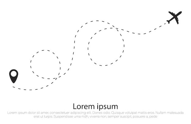 Route d'avion en forme de ligne pointillée