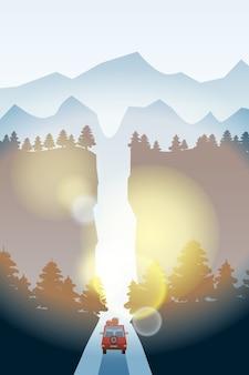 Route avec beau paysage de forêt d'épinettes. horizon des montagnes.