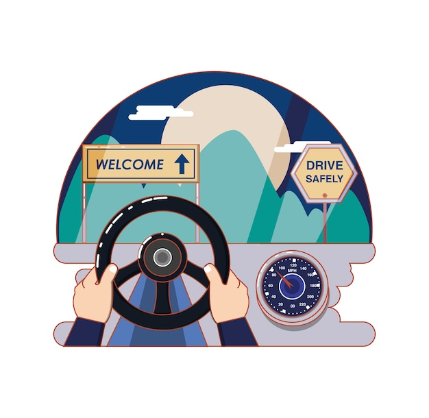 Route avec bienvenue étiquette vector illustration design