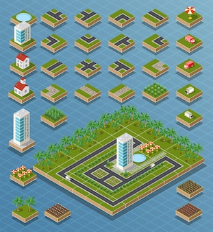 Route de carte de ville isométrique, arbres et éléments de maison de construction mis en illustration vectorielle isolée.