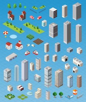 Route de carte de ville isométrique, arbres et éléments de maison