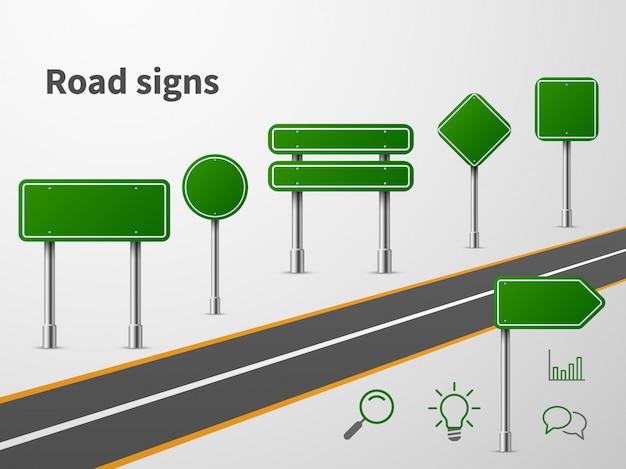 La route chante. route de la circulation de la bannière, emplacement vide du panneau routier de la direction de la route