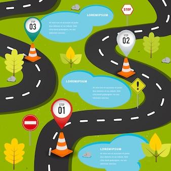 Route sur le chemin élément infographique.