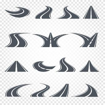 Route de couleur grise isolée avec des marques de division sur blanc