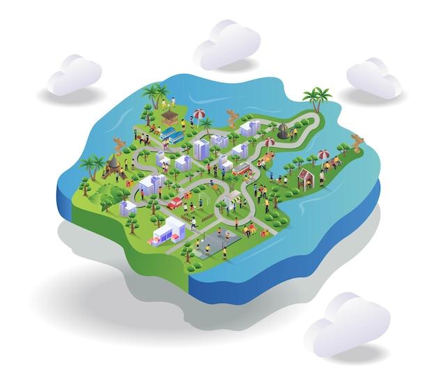 Route dans la carte du paysage en illustration isométrique