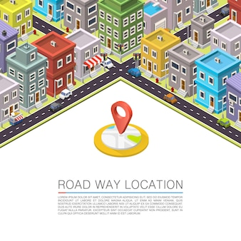 Route dans la ville isométrique. fond de vecteur
