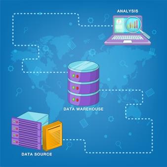 Route du concept de base de données, style cartoon