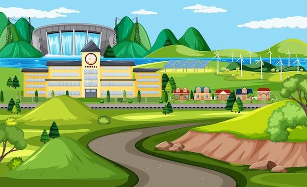 Route de l'école dans la scène de la nature