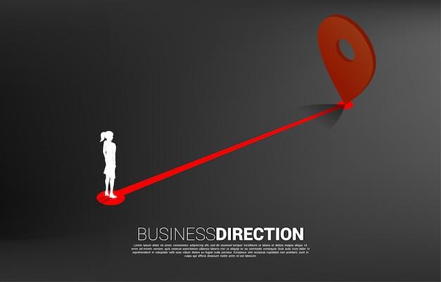 Route entre les marqueurs de broche de localisation et la femme d'affaires. concept pour l'emplacement et la direction des affaires.