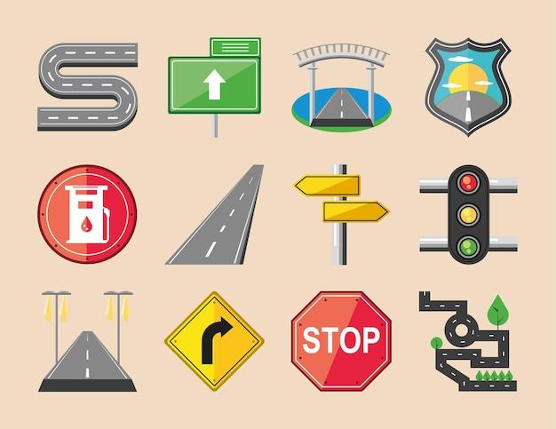 Route de flèche de signes de voyage de trafic