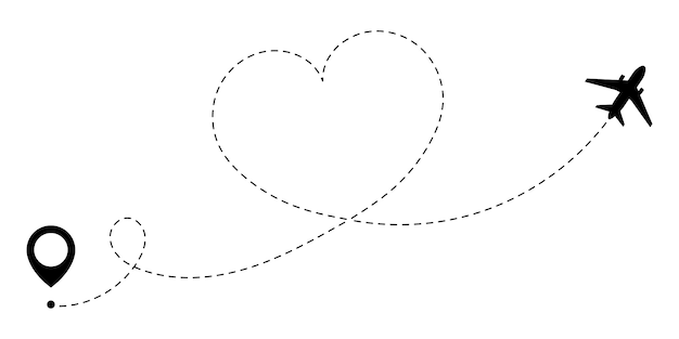 Route gps de l'avion de voyage d'amour. un voyage amoureux qui est suivi par la ligne pointillée de la route du cœur.