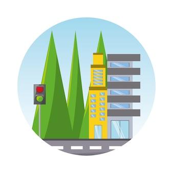 Route avec l'icône de bâtiments