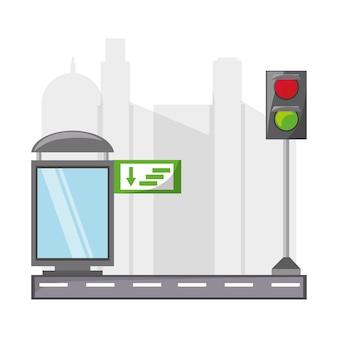 Route avec l'icône des éléments de la ville