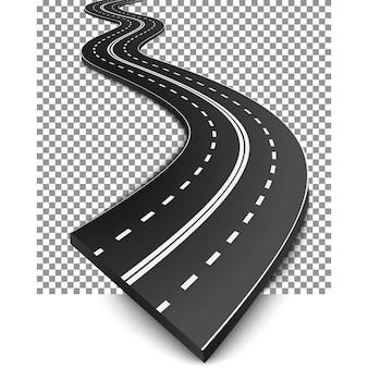 Route incurvée avec des marques blanches