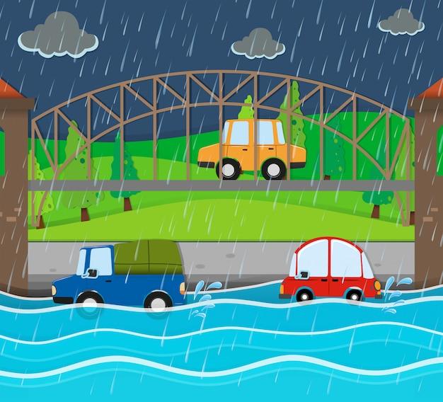 Route d'inondation à la nuit pluvieuse