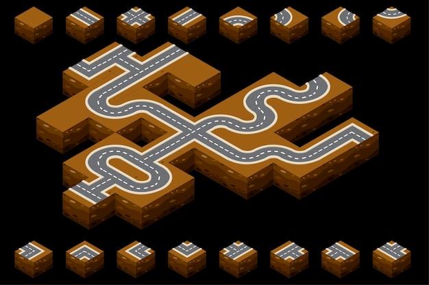 Route isométrique avec le sol pour le chemin.