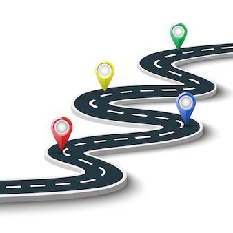 Route avec des marques de localisation sur fond blanc. illustration.