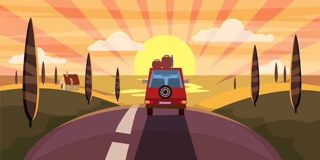 Route de la mer au coucher du soleil d'été de voyage d'autoroute à la mer océan voiture affiche de style de dessin animé de paysage mignon