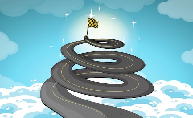 La route monte dans le ciel