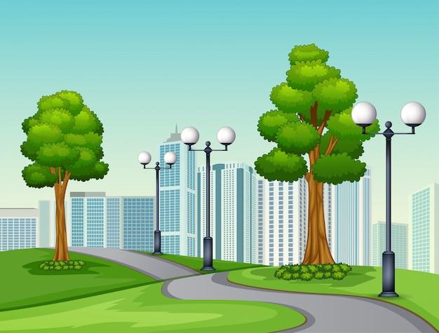 Une route naturelle vue sur un fond urbain