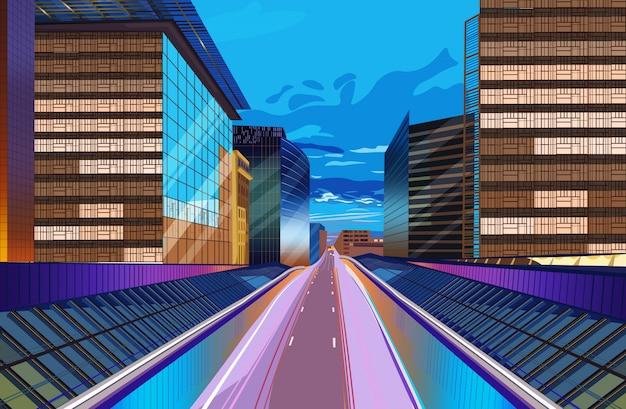 Route, nuit, paysage urbain