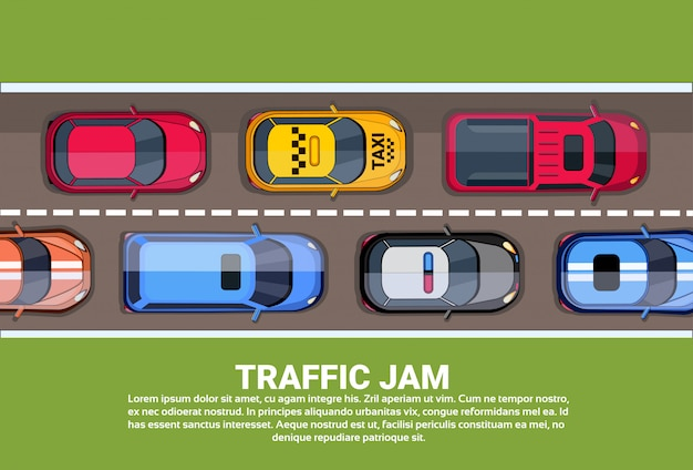 Route, plein, différent, voitures, haut, angle, vue, embouteillage