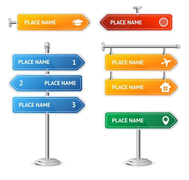 Route et rue couleur sign set direction guide. illustration vectorielle