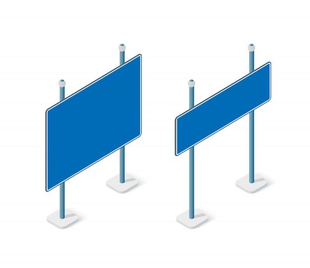 Route signe isométrique set objet de rue pour autoroute