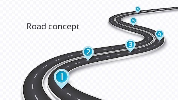 Route sinueuse en 3d sur un fond transparent. modèle de chronologie