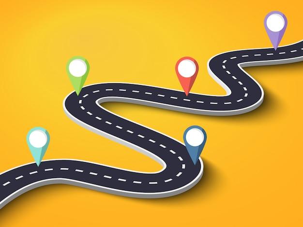 Route sinueuse sur fond coloré