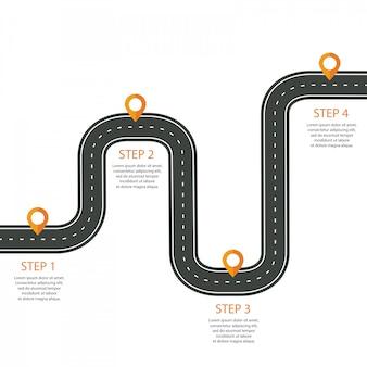 Route sinueuse avec gabarit d'infographie