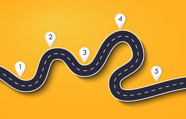 Route sinueuse sur jaune
